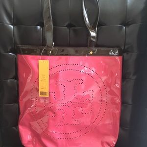Tory Burch patent leather large tote